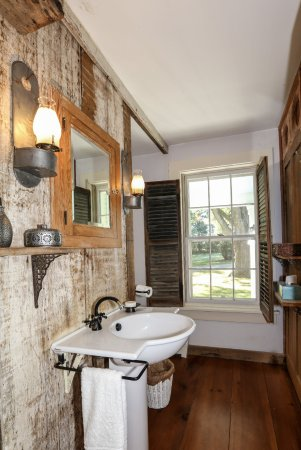 Addison, VT: East Room Bathroom with Reclaimed Barnwood from Property