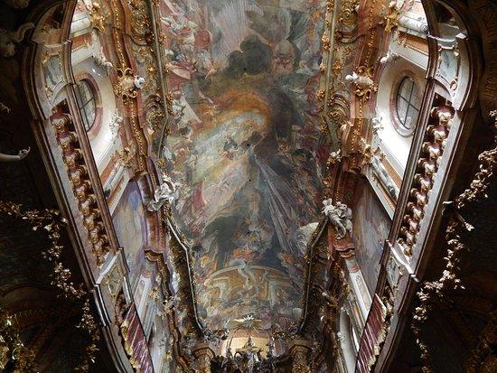Asam Church: Cosmas' ceiling frescoe.