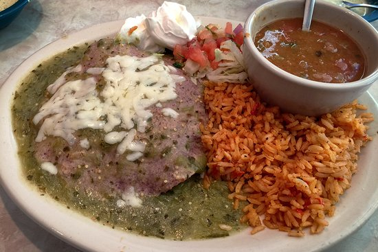 Chuy's Norman: The blue corn tortillas atop Chuy's stacked enchiladas look strange, but the dish tastes great!
