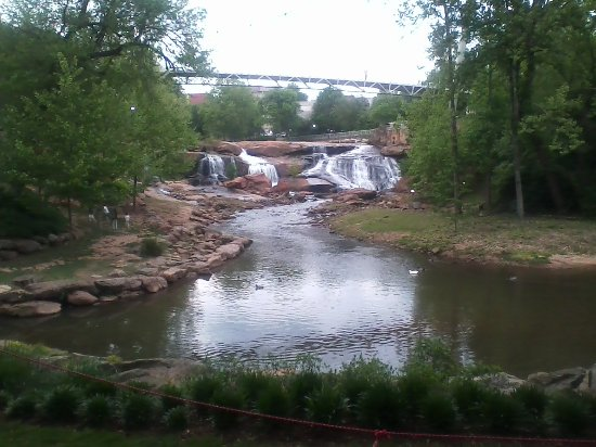 Falls Park on the Reedy : The view of Reedy River falls and the walking bridge from below
