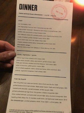 Restaurant Charter Oak St Helena Ca Menu