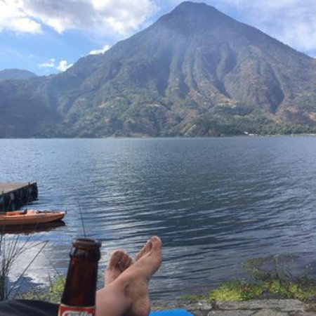 Posada de Santiago: Boat dock on right, pool just peeking out from under left heel, and Volcán San Pedro across the