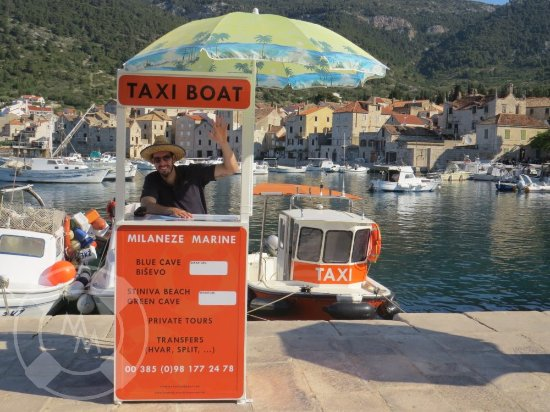 Island of Vis, Croatia: This is our booking stand in the port of Komiza. Find us and book a tour face to face!