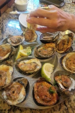 Wonderful charboiled oysters with bordelaise sauce
