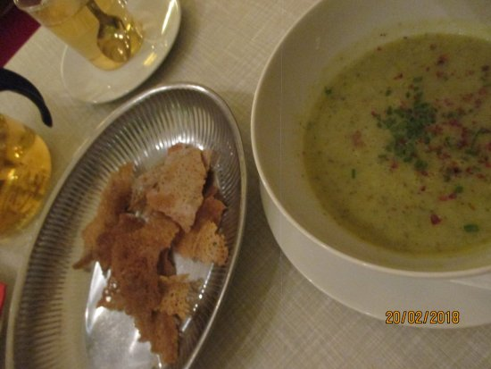 Aromat: Cream Of Vegetable Soup With Buckwheat Crepe Crunchies