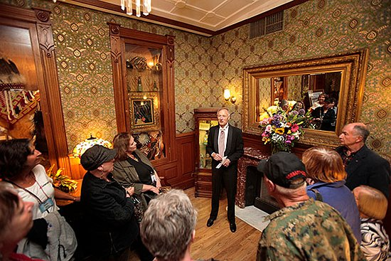 Owner Rod Barker guides a historical tour of the Strater Hotel.