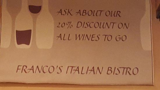 Franco's Italian Bistro: vino in offerta