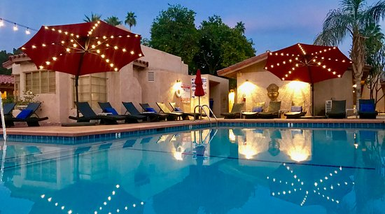 Greater Palm Springs, CA: Twilight at the beautiful Terra Cotta nude resort in sunny Palm Springs, CA