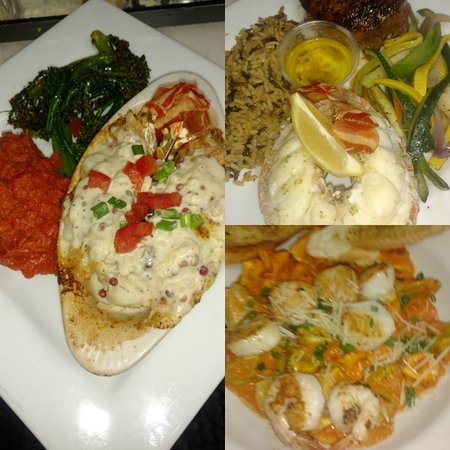Fish Bites Seafood Restaurant: Boursin & Crab Stuffed Lobster Tail (L), Surf-n-Turf, Lobster & Six Cheese Scallop Pasta (R lowe