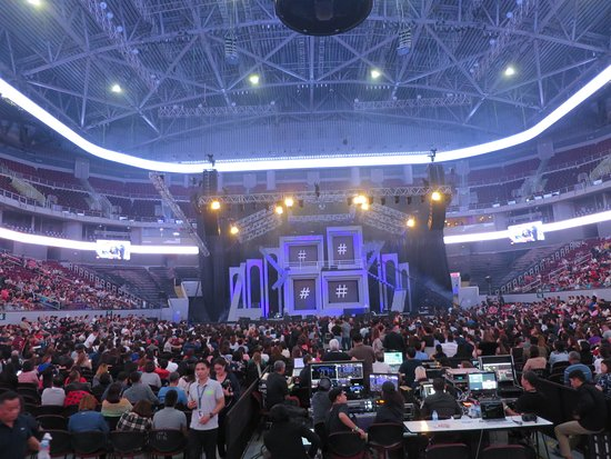 The stage and the crowd inside...