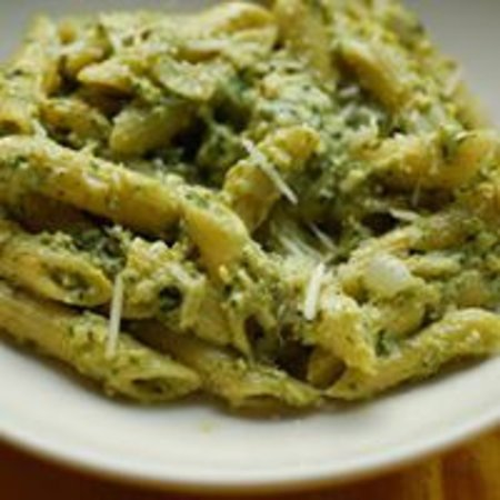 Sugar Grove, IL: Several pastas and sauces to choose from.  This is Mostaccioli with Pesto Sauce