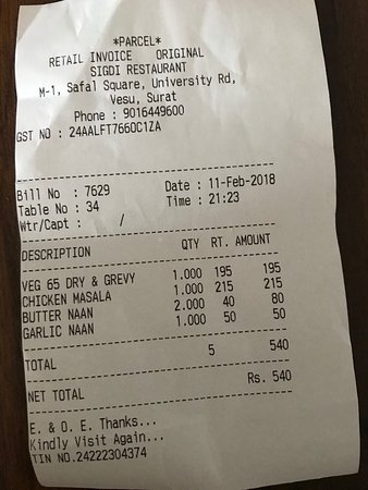 Surat District, India: Retail Invoice - Sigdi Restaurant Vesu