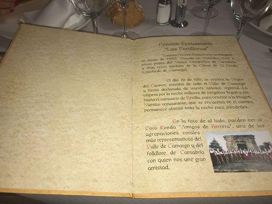 Camargo, Spain: Carta de las Portillonas