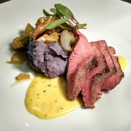 Dorset, VT: Wagyu Beef, Béarnaise, Peruvian Purple Potato Mash, Cipollini Onion Confit, Romanesco, Beet Spro