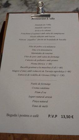 Menú: fotografía de Restaurant L'Olla, Sant Feliu de