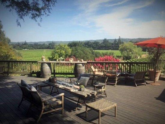 Healdsburg, CA: Our wine tasting deck overlooking Dry Creek Valley