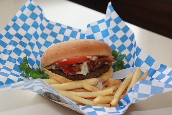 Middleton, ID: Our customers love our mushroom swiss burger with bacon!