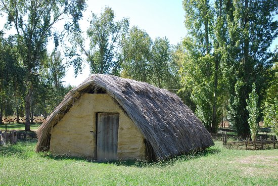 Poblado Neolitico de la Draga: Reconstructed Neolithic house. La Draga, Banyoles, Catalonia, Spain