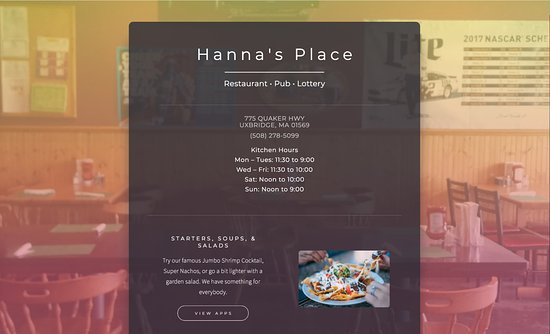Uxbridge, MA: Hanna's Place – Hand carved sirloin and the best seafood you will find in the valley!