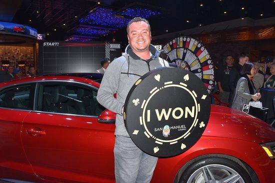 Highland, Kalifornien: Juan won the final pair of 2018 Audi A5s at San Manuel Casino on Feb. 22, 2018.
