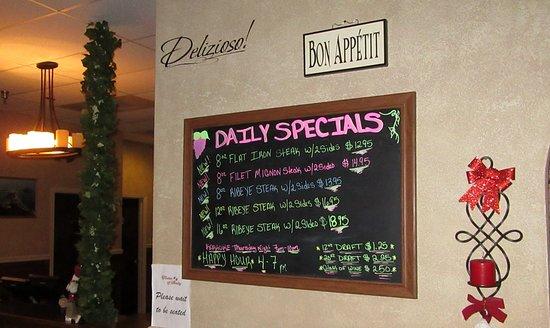 Altavista, VA: Daily Specials board