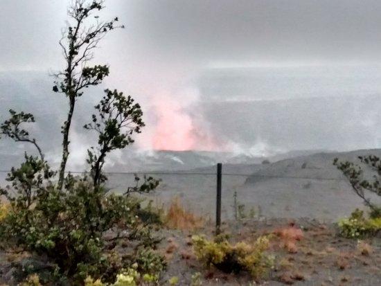 Volcán, Hawái: Kilauea at dusk from Jagger Museum