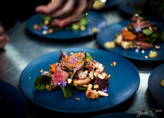 Stanley, Australia: Finishing touches on a Cape Grim Beef salad.