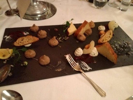 Rathnew, Ireland: Shared starter plate of smoked salmon, duck liver parfait and goat crostini.