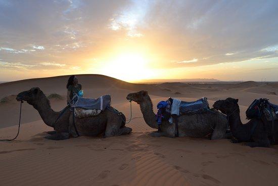 Hotel Ksar Merzouga : Viendo la puesta de sol en medio del desierto