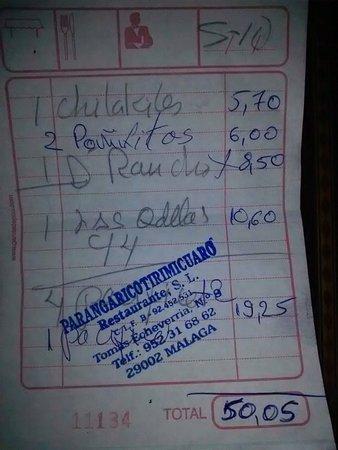 Cantina Mexicana Tacos: La cuenta...