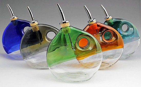 Tubac, AZ: handmade glass olive oil bottles