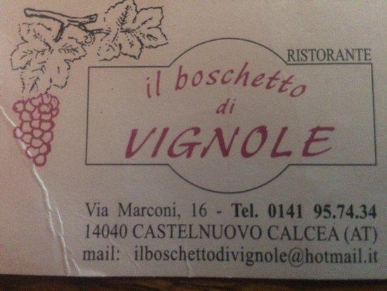 Castelnuovo Calcea, Italien: biglietto da visita!