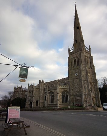 The lovely parish church in Thaxted opposite The Swan