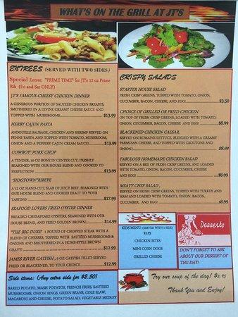 Madison Heights, VA: JTs Grill Menu Back