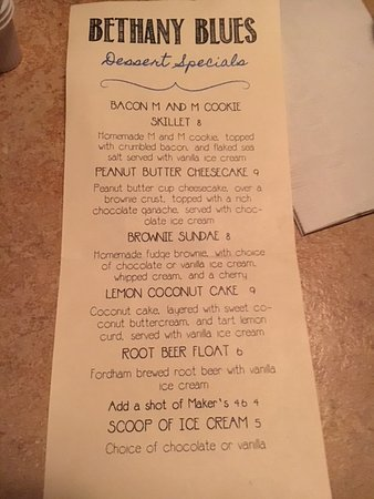 Bethany Blues BBQ: Dessert menu including bacon M&M cookie skillet