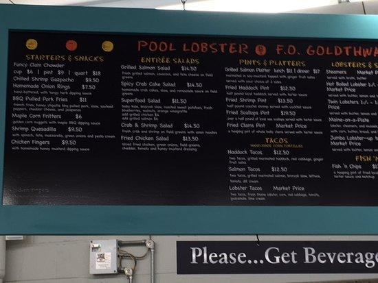 Biddeford Pool, ME: menu