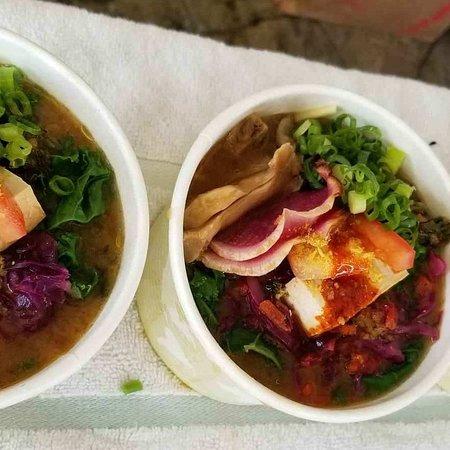 "Paia, HI: Takashisan's famous vegan ramen ""Garden Sushi Maui"" so ono! Available Tuesdays only"