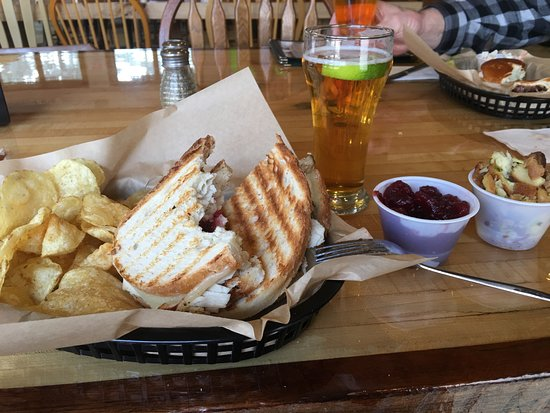 Dowagiac, MI: The house roasted turkey breast Gobbler Sandwich with homemade cranberry sauce and Primos lager