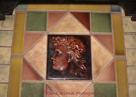 "Oxford, OH: ""Christopher"" as Tari fondly refers to him. It's a single tile on the front of the fireplace"