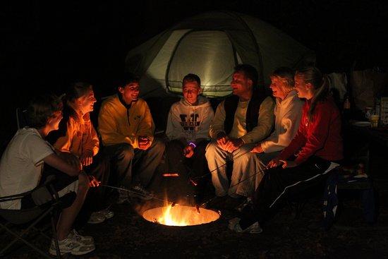 Shafer, MN: Enjoying a bonfire after dark.