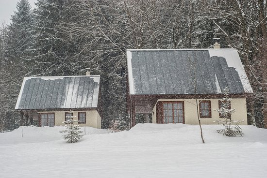 Destne, Repubblica Ceca: Cottages - It's snowing.