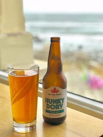 Southwest Nova Scotia, Canada: Indulging in a local brew with an ocean view.