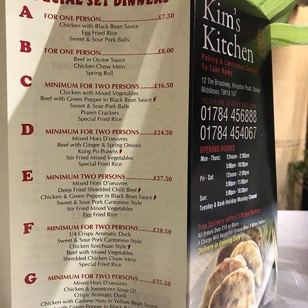 Take Away Menu Picture Of Kim S Kitchen Staines Tripadvisor