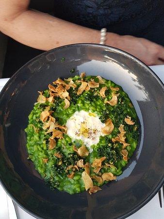 Otto Ristorante: Aged Acquerello risotto, spinach, cavolo nero, Vannella stracciatella, pine nuts