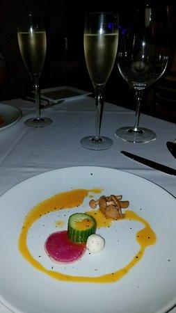 Dinner menu, amuse Boucher, rosemary foccacia, Mahi Mahi starter, Confit chicken/seared marinate