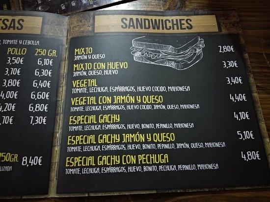 Aldeamayor de San Martin, Spain: carta