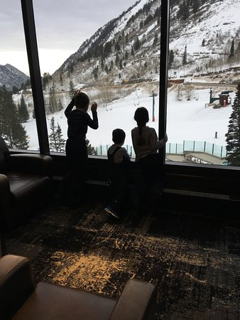 The Cliff Lodge & Spa: me and my siblings looking at the mountain