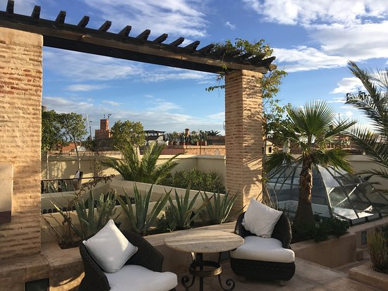 Riad Camilia: Our RoofTop Terrace in February at breakfast time