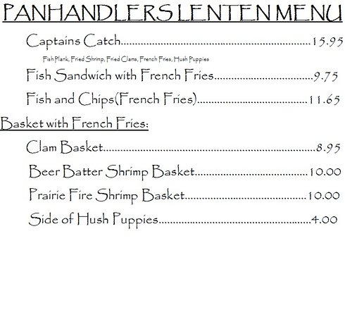 Oshkosh, NE: We are offering a Lenten Menu until Easter! Monday through Saturday! During PANHANDLERS HOURS!