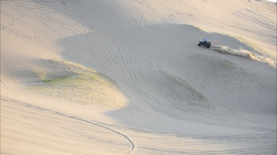 Saint Anthony, ID: going up a big dune at the St. Anthony Sand Dunes.